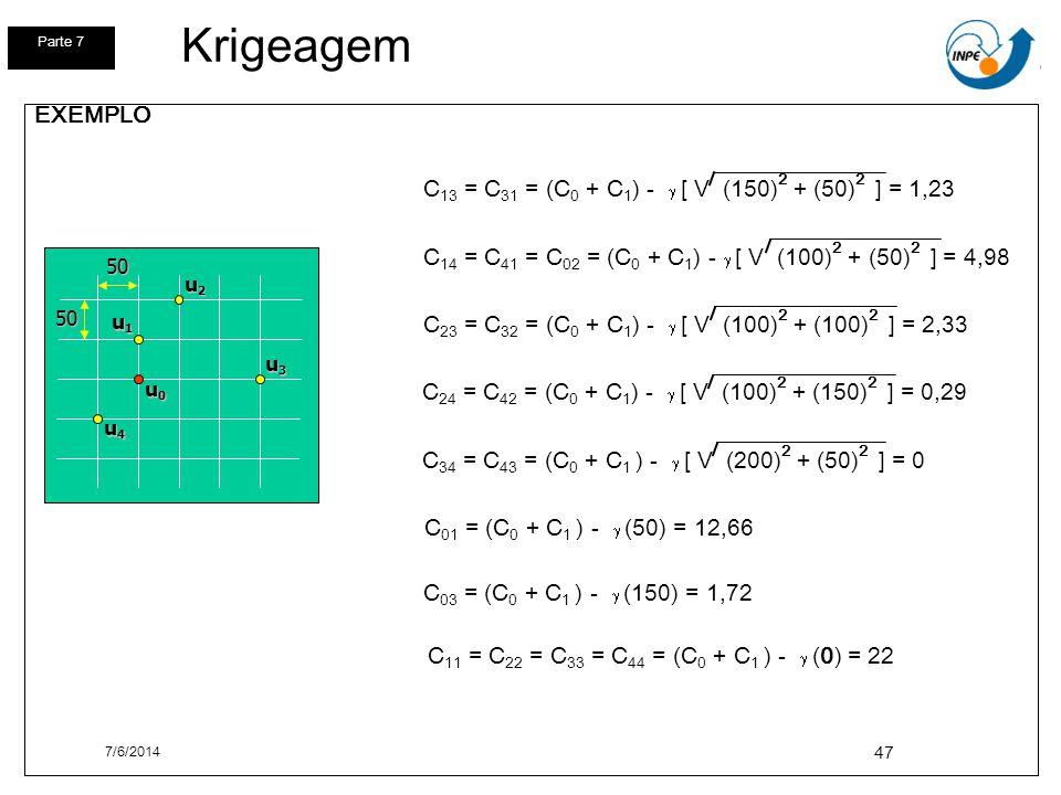 Krigeagem Parte 7. EXEMPLO. C14 = C41 = C02 = (C0 + C1) - g [ V (100)2 + (50)2 ] = 4,98.